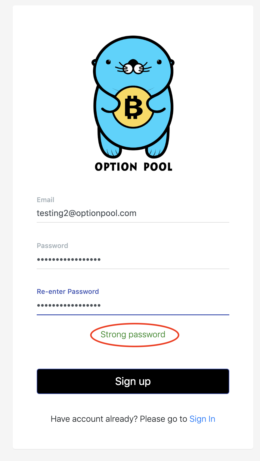 account creation form at Option Pool, with password security highlighted in a red circle