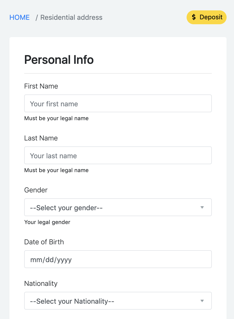 mobile version of KYC data input form at Option Pool