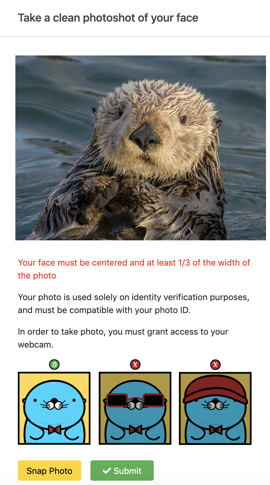 mobile version of photos of Richie that instructs how to take a photo for a facial verification at Option Pool