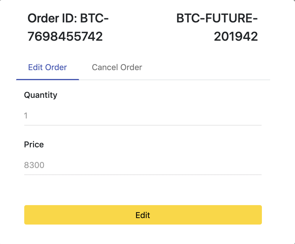 form that Bitcoin futures and options traders can submit modification request at Option Pool