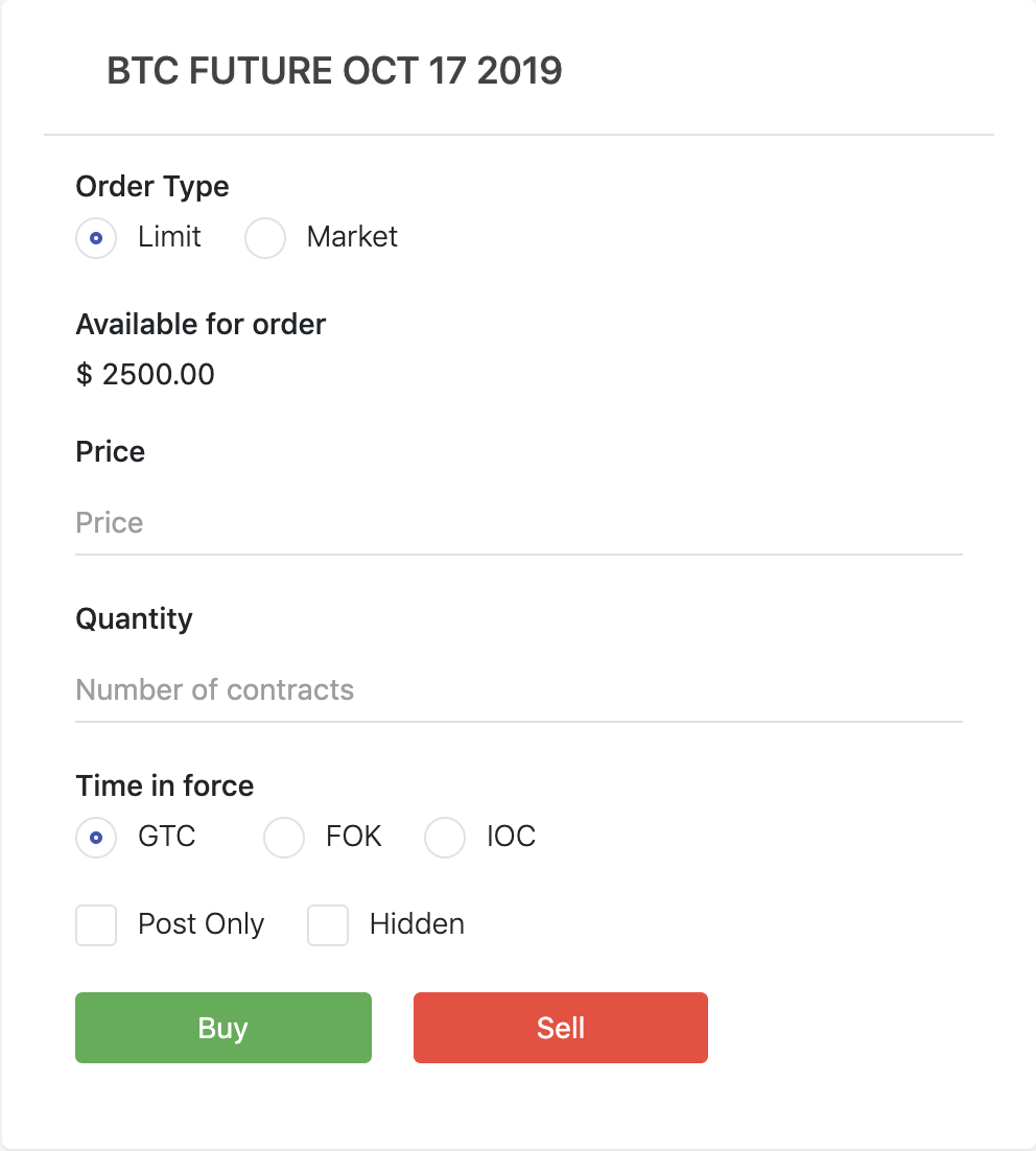 panel that Option Pool users can submit their Bitcoin futures and options trading orders to the server